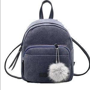 Grey soft mini backpack with Pom Pom key chain! 🆕